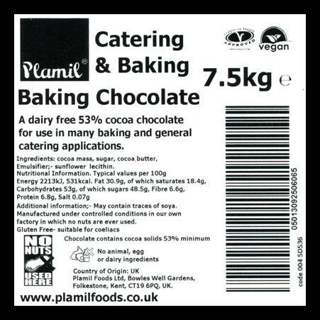 'Free From' Baking Chocolate Catering Pack Large - Click Image to Close