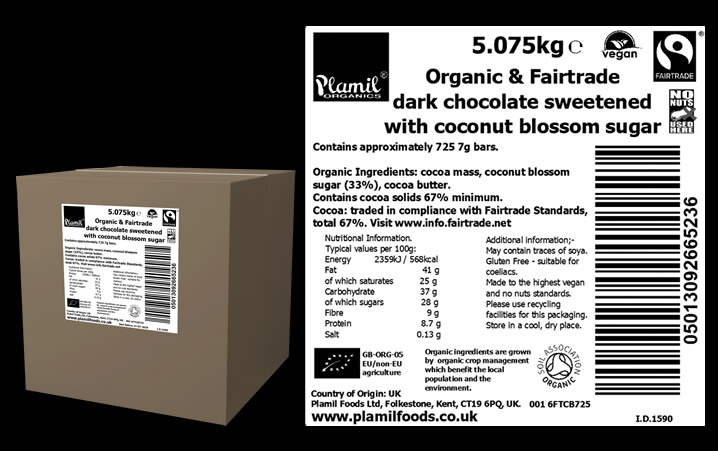 Organic Fairtrade Dark Chocolate Complimentary Bars Large - Click Image to Close