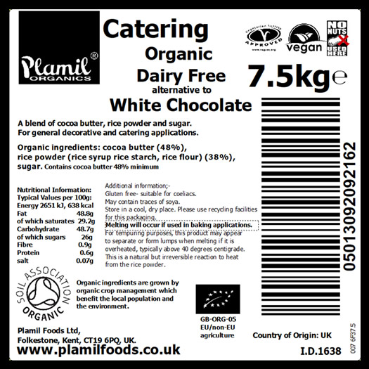 Organic Alternative To White Chocolate Catering Pack Large - Click Image to Close