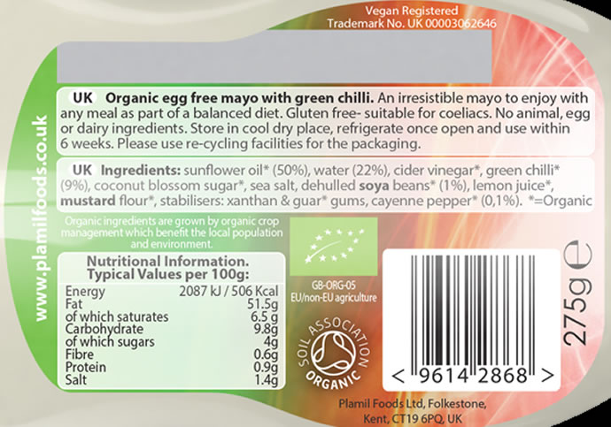 Organic Green Chilli Egg Free Mayonnaise Squeezy Bottle - Click Image to Close