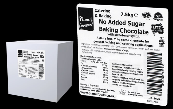 No Added Sugar Baking Chocolate Catering Pack Large 71% Cocoa - Click Image to Close