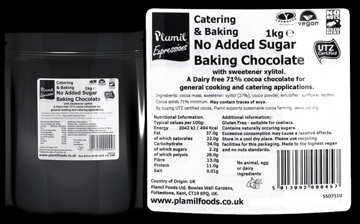 No Added Sugar Baking Chocolate Catering Drops 71% Cocoa - Click Image to Close