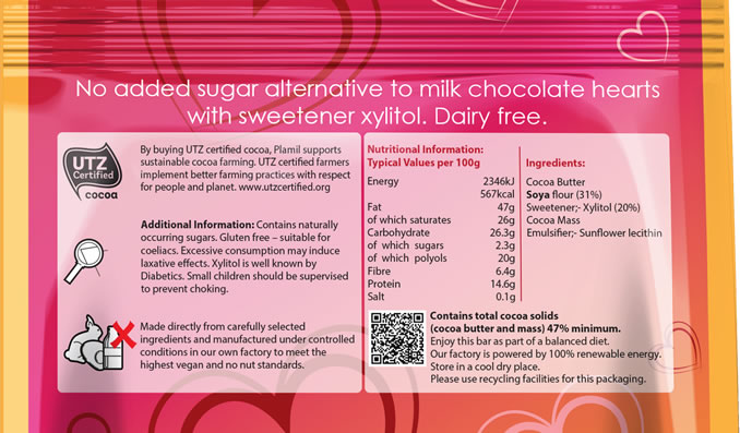 No Added Sugar Alternative to Milk Chocolate Hearts - Click Image to Close