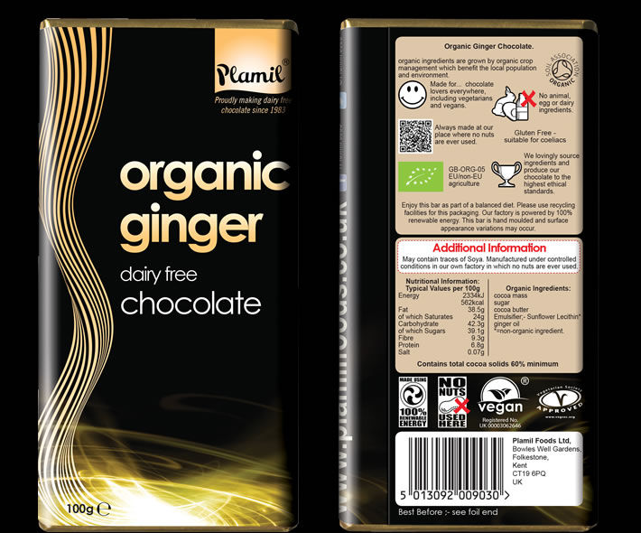 Organic Ginger Chocolate 100g - Case of 12 - Click Image to Close