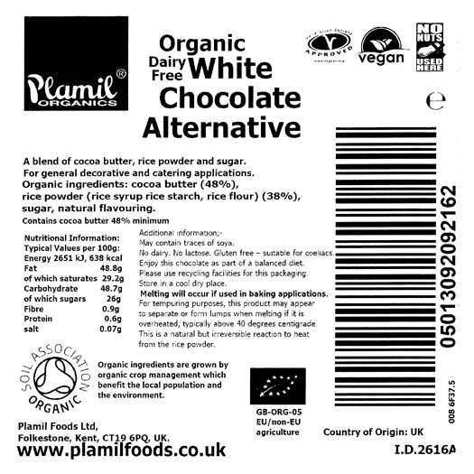 Organic White Chocolate Alternative Catering Drops - Click Image to Close