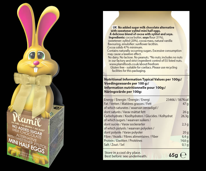 Plamil No Added Sugar Chocolate Bow-Tie Bunny - Click Image to Close