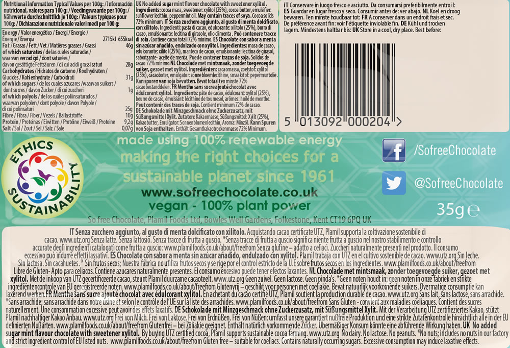 Plamil So free No Added Sugar Cool Mint Dark Chocolate Snack Bar - Click Image to Close