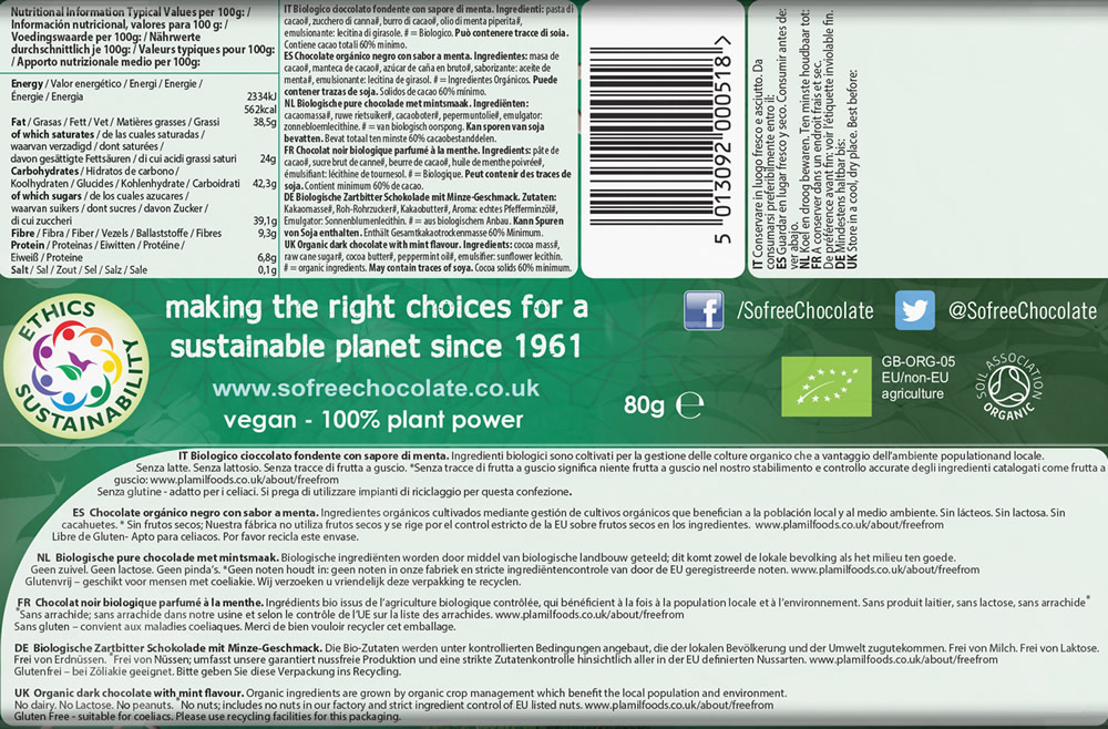 Plamil So free Organic Intense Mint Dark Chocolate Thin Bar - Click Image to Close