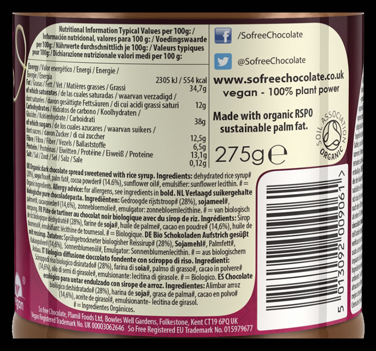 So free Reduced Sugar Dark Chocolate Spread - Click Image to Close