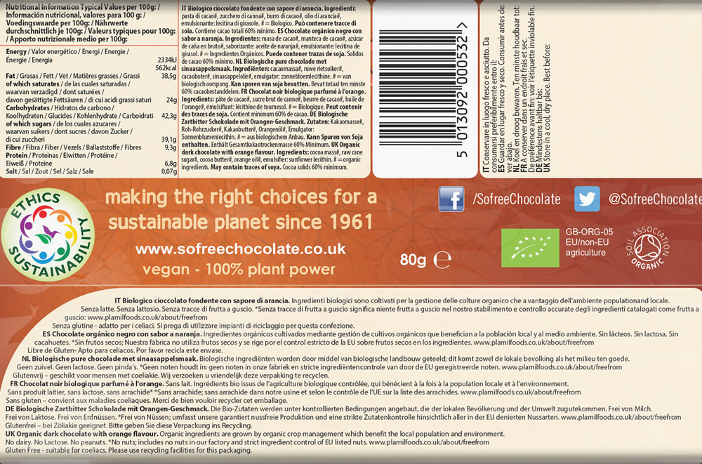 Plamil So free Organic Tropical Orange Dark Chocolate Thin Bar - Click Image to Close