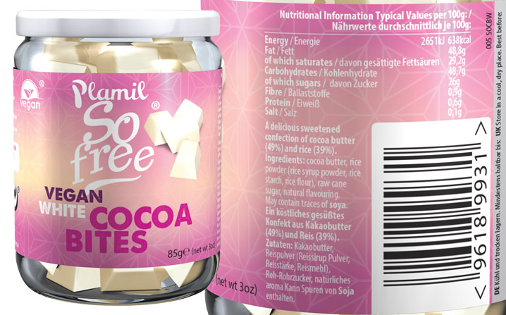 Plamil So free Vegan White Cocoabites - Click Image to Close