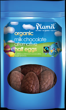 Organic Fairtrade Alternative to Milk Chocolate Half Eggs