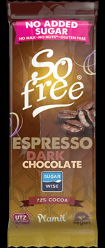 So free No Added Sugar Espresso Dark Chocolate Snack Bar