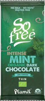 Plamil So free Organic Intense Mint Dark Chocolate Thin Bar