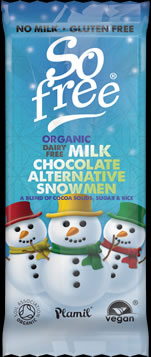 So free Organic Chocolate Snowmen Tray