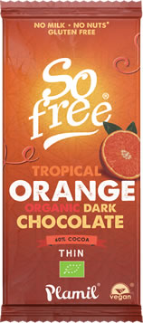 Plamil So free Organic Tropical Orange Dark Chocolate Thin Bar